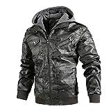 URIBAKY - Abrigo de piel para hombre, diseño de camuflaje con capucha, color cachemira, gris, XXXL