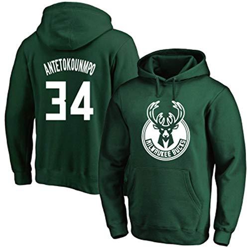 NBA Jersey Bucks 34# Antetokounmbo Deportes de los Hombres Sweedel Hoodeled Suéter Suelto Plus Tamaño Pullover (Color : Verde, Size : XXX-Large)