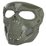 ATAIRSOFT Protector táctico Cráneo Ajustable Máscara Facial Completa para Fiesta de Disfraces de Cosplay de Airsoft Paintball OD Verde