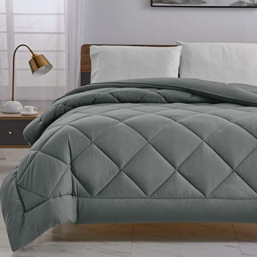 CozyLux Queen Grey Hypoallergenic Comforter Lightweight Down Alternative All Season Gray Bed Comforter Quilted Duvet Insert with 300GSM Plush Microfiber Fill and Corner Tabs and Machine Washable