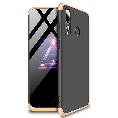 HMTECHUS Huawei Nova 4 Hülle, stoßfest, 2-in-1 Hart-PC-Kunststoff, kratzfest, schlankes Design, vollständiger Schutz, ultradünn, Schutzhülle für Huawei Nova 4, 2-in-1, PC-Schwarz / Gold AD