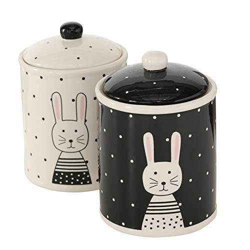 CasaJame Juego de 2 Botes para Galletas de Porcelana con Junta de Silicona Conejos Blancos y Negros Dibujados Altura 18 cm Ø 13 cm