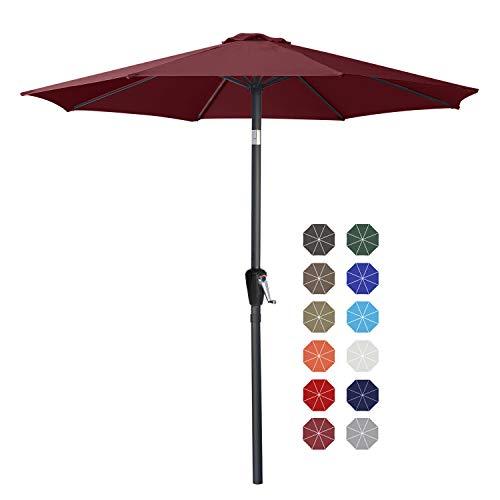 9' Patio Umbrella Table Market Umbrella with Push Button Tilt for Garden, Deck, Backyard and Pool, 8 Ribs 13+Colors,Burgundy