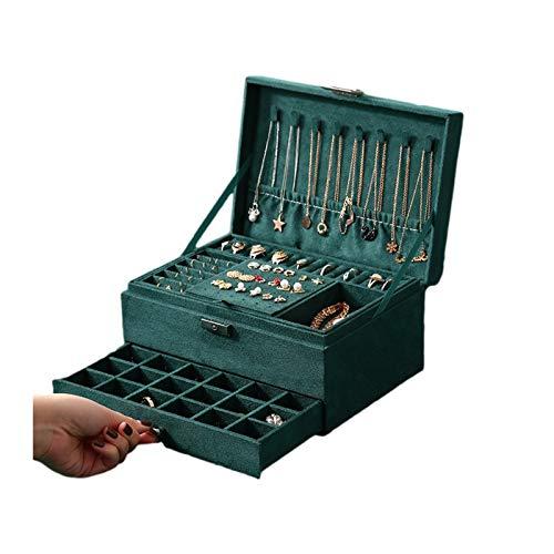 Jewelry Box XIAOXIAO - Organizador de pelusa de terciopelo de 3 niveles con 1 cajón, caja de almacenamiento para pendientes, pulseras, anillos, collares
