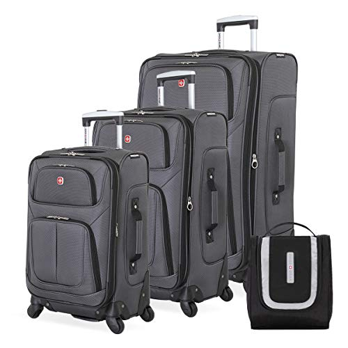 SWISSGEAR 6283 Amazon Exclusive Premium 3pc Spinner Luggage Set with Dopp Kit Bundle Dark Grey