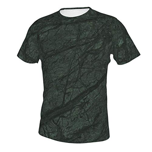 Short Sleeve Shirt Tops for Men Boys Teens Adult, Regular Big and Tall Sizes Tieic Marble Forest Green Marble S
