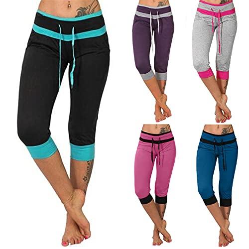 Lovely Nursling Tummy Control Leggings Women, Chino Pants Elastic Waist Patchwork Comfotable Unfettered Calf-Length Pants