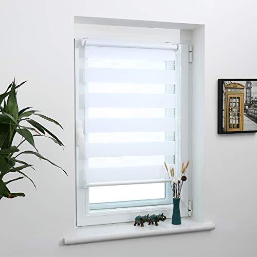 Grandekor Doppelrollo Klemmfix, Duo Rollos für Fenster und Tür ohne Bohren mit Klämmträger, Fensterrollo lichtdurchlässig & verdunkelnd - Weiß 75x210cm (Stoffbreite 71cm)