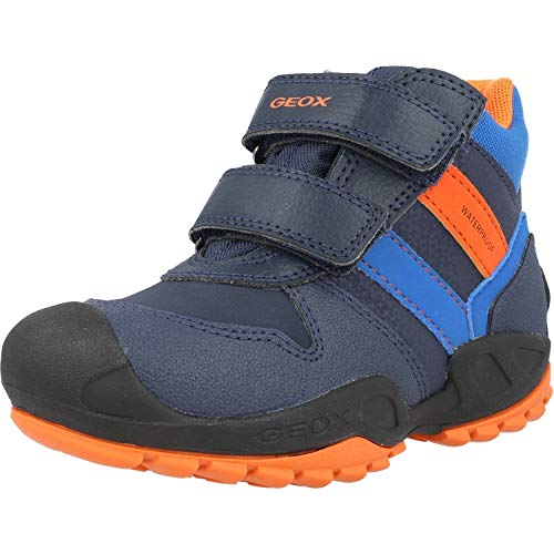 Geox Jungen Boots New Savage Boy WPF, Kinder Winterstiefel,lose Einlage,wasserdicht,Outdoor-Kinderschuhe gefüttert,Navy/ORANGE,32 EU / 13 UK Child