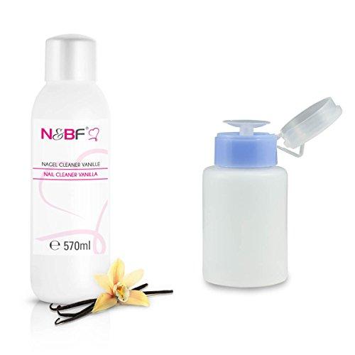 Cleaner pour Ongles Parfum Vanille 570 ml + Flacon à Pompe 150 ml-Nail nettoyant utilisé pour nettoyer et dégraisser en qualité studio
