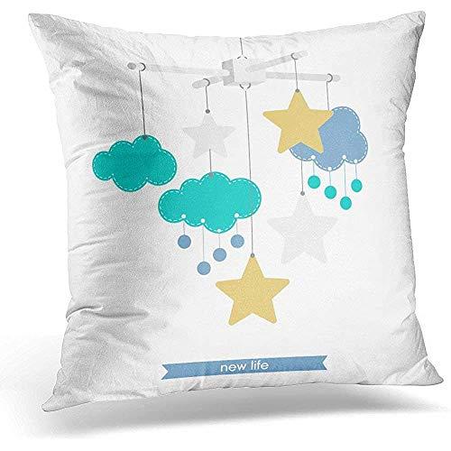 Fille nouveau-né de bébé mobile étoiles et nuages suspendus jouet naissance jeter housse de coussin Home Decor joli cadeau carré taie d'oreiller, 18 X 18 po