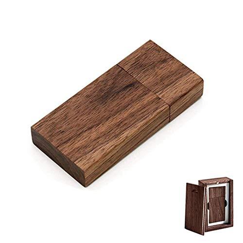 Memoria USB de madera de nogal, USB 2.0 de 128 GB, con caja de madera (2.0 128 GB)