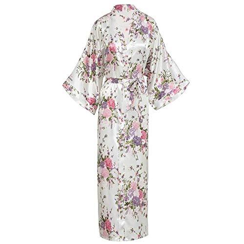 FXC Hot Springs Kimono Japanse Stijl Vest Thuis pyjama Sauna Badjas Set Bad Mannen En Vrouwen-Grote Maat Katoen, Zwart En Wit met Patroon Bloemen 1738 Vrouwen s,S
