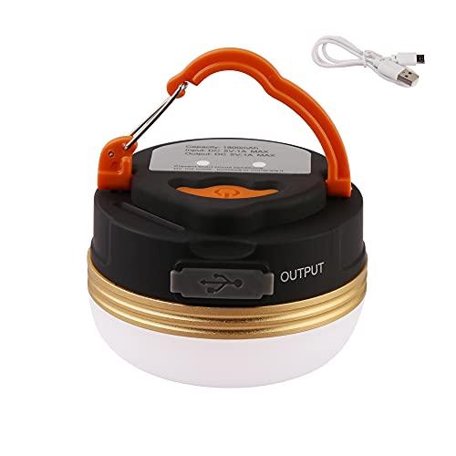 Lámpara LED de camping recargable por USB, mini imán, 3 modos de iluminación, luz para tienda de campaña, portátil, Power Bank para exteriores, función estroboscópica de emergencia