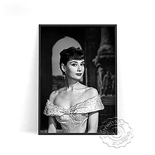 YHJK Póster Obra de Arte Estrella de Cine Audrey Hepburn Posters e Impresiones Imagen artística de Pared en Blanco y Negro Sala de Estar Decoración nórdica para el hogar 50x70 cm Sin Marco
