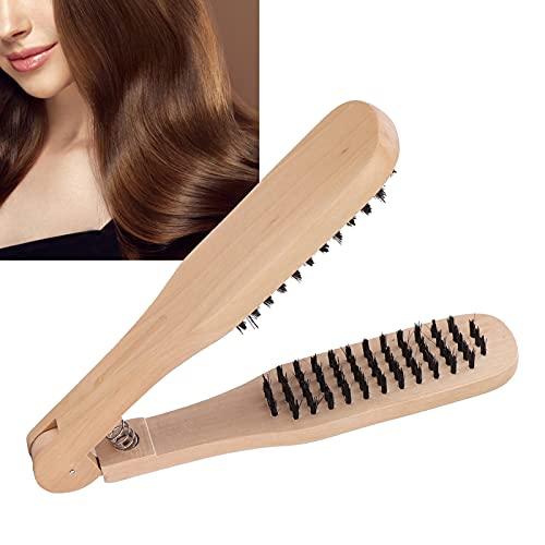 Pince à cheveux en bois, peigne à lisser les cheveux lissage des cheveux peigne en bois massif portable brosse à cheveux durs peigne pince pour la maison pour Baber Shop pour salon
