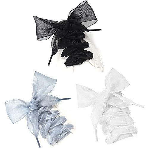 ALUYF 3 Pcs Lacci Per Scarpe Con Nastro Piatto In Raso Lacci per scarpe in organza Lacci piatti in nastro di raso per i lacci delle scarpe da ginnastica delle ragazze delle