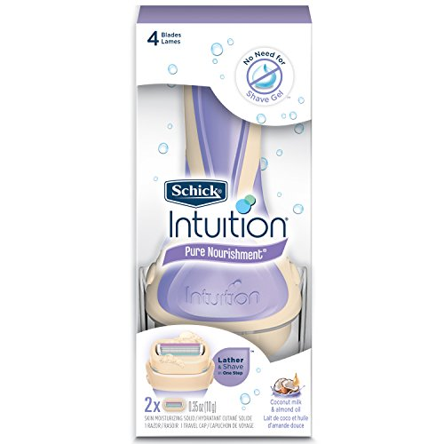 Schick Intuition Pure Nourishment Womens Razor with Coconut Milk and Almond Oil, 1 Handle with...