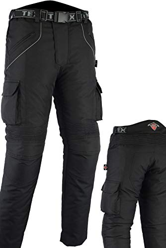 Texpeed Pantalones de motorista con protector - Impermeables - Negro - Todas las tallas - W34 L34
