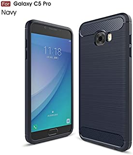 Protective Case Compatible with Samsung Ultra Light Carbon Fiber Armor Shockproof Brushed Silicone Grip Case Compatible Samsung Galaxy C5 Pro Phone case (Color : Navy)