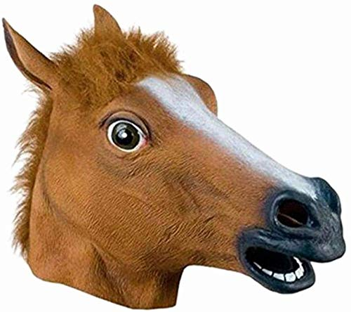 CAISHENY Halloween Maske Pferdemaske Pferdekopfmaske Halloween-Maske Latex Tiermaske Pferdekopf Pferdekostüm-Braun