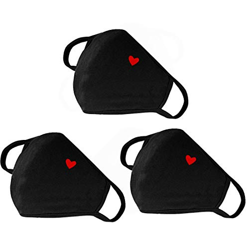 Fashion Cute Heart Face Protection with Adjustable Nose Bridge - Unisex Cotton Dustproof Mouth Protection - Washable Reusable Warm Windproof for Outdoor Activities