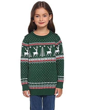 Aibrou Suéter de Navidad para Familia,Jersey Pullover de Punto de Copos de Nieve de Renos,Suéter Unisex de Navidad Invierno,Pareja suéter de Navidad (1# Niños Verdes S)