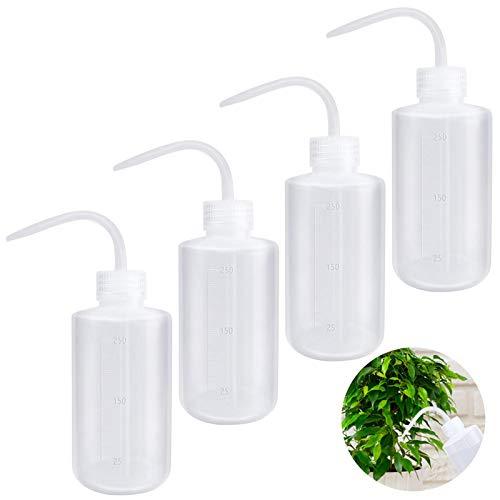 4 Piezas Botella de Lavado, Botella de Lavado de Plástico Transparente Lavado de Seguridad Botella de Plástico para Regar las Plantas, Squeeze Wash Bottle - 250 ml