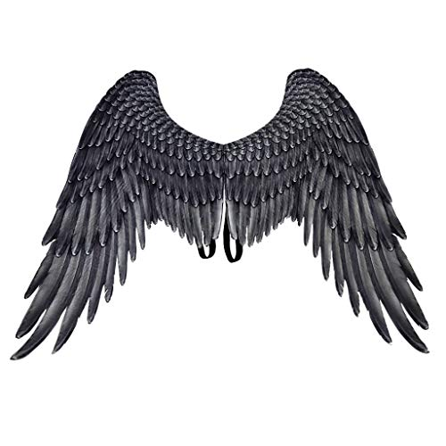 Dermanony Halloween Wings Parties Mardi Gras Cosplay Pretend Play Dress Up Angel Eagle Wings Costume Accessory Wings Black