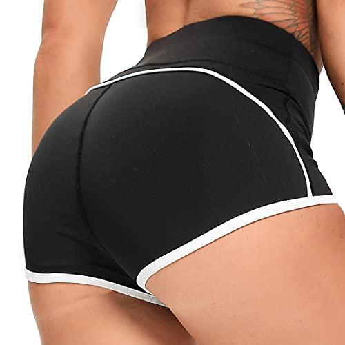 FITTOO Pantalones Cortos Push Up Leggings Mujer Mallas Yoga Alta Cintura Elásticos Transpirables Negro S