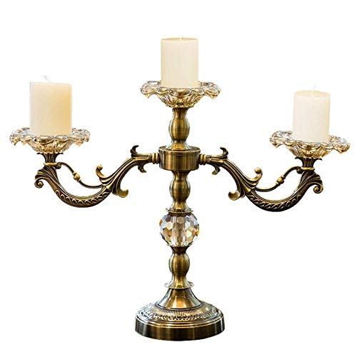 WXJWPZ Candeliere Portacandele Placcati in Metallo/Oro A 3 Bracci Stelo Pilastro in Lega di Zinco per Candelieri Portavelas di Nozze