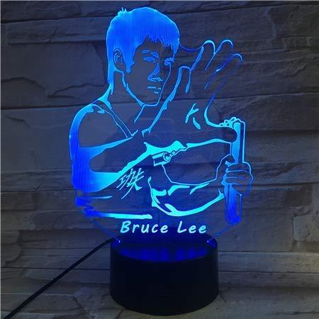 Bruce Lee Nunchakus Figura Usb 3D Led Luz De Noche 7 Colores Cambiantes Niños Niños Bebé Regalos Chino Kung Fu Lámpara De Escritorio Dormitorio