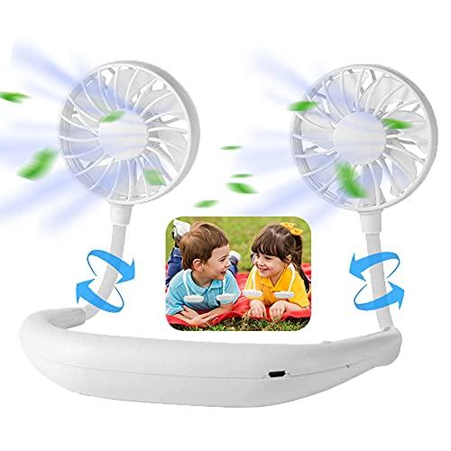 USB Rechargeable Portable Wearable Fan,Neck Fan, Hand Free Personal Fan, 360 Degree Adjustable Necklace Mini Fan for office Travel Outdoors-White