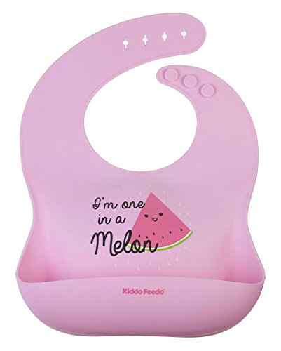 KIDDO FEEDO wasserdichtes, abwaschbares Silikon Babylätzchen mit Roll Up und tiefer Auffangtasche - verstell- und faltbar - verschiedene Designs zur Auswahl (Rosa)