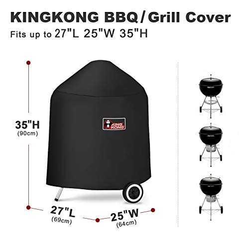 Kingkong 7149 Premium Grill Cover for Weber Charcoal Grills, 22.5-Inch (Compared to the 7149 Grill Cover) Including Grill Brush and Tongs.