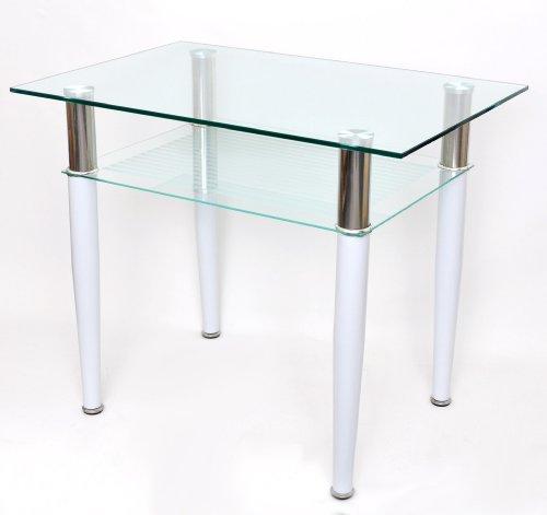 Tavolo da caffè o da pranzo, 60x 90cm, tavolo per il computer in acciaio inox e vetro temperato bianco spesso 10mm