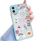 ZhuoFan Funda para Xiaomi Mi 11 Funda (6.81') Silicona Transparente Esmerilada [Hard Acrylic Back] Maravilloso Toque, Suave TPU Bumper Protector de caída Delgado - Lindas Pegatinas