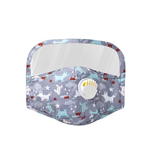 Skang Infantil Protector Facial Tela con Válvulas de Respiración y Gafas Protectoras+2xFiltros de Repuesto de Carbón Activo Reutilizables Protector de Cara