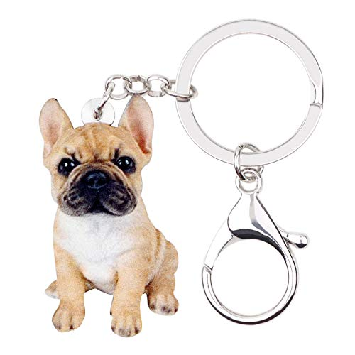 Bonsny Acrylic French Bulldog Keychains Key Ring Car Purse Bags Pets Lover Charms Gifts