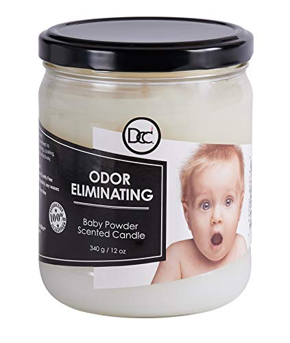 Odor Eliminating Highly Fragranced Candle - Neutralizes Pet, Smoke, Food, and Other Smells Quickly - Up to 80 Hour Burn time - 12 Ounce Premium Soy Blend (Baby Powder)