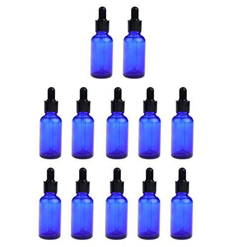 FITYLE 12pcs Vide Bouteille Ambre Aromathérapie Liquide Essentielle + Bouchon Compte-gouttes 30ml - Bleu
