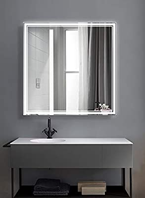 "FOMAYKO 36"" x 36"" Bathroom Mirror Horizontal/Vertical Anti-Fog Wall Mounted Makeup Mirror with LED Light Over Vanity Polished Edge &Frameless Touch Switch Silver Backed (36""x36"")"