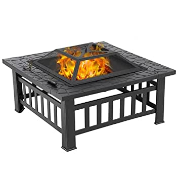 Yaheetech Fire Pit Iron Bonfire Firepits-Includes Screen Cover and Log Poker 32inch