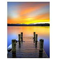 油絵 数字キットによる絵画 塗り絵 大人 手塗り 海辺の橋- DIY絵 デジタル油絵 40x50 センチ (diyの木製フレーム)