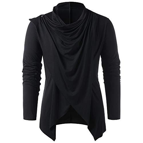 CNSTORE Men Asymmetrical Overlap Asymmetrical Cardigan Sweaters Black