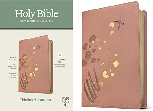 NLT Thinline Reference Holy Bible (Red Letter, LeatherLike, Brushed Pink): Includes Free Access to the Filament Bible App Delivering Study Notes, Devotionals, Worship Music, and Video