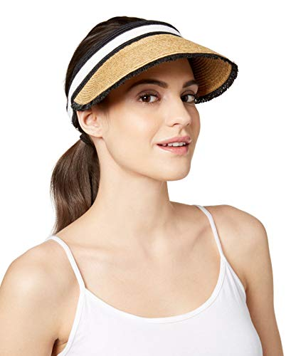 August Hats Colorblocked Straw Visor (Beige, One Size)