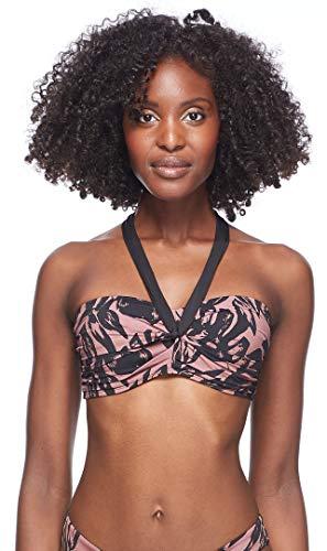 Skye Women's Emma Bandeau Bikini Top Swimsuit with Twist Front Detail, Sulawesi Black Leafy Print, X-Small