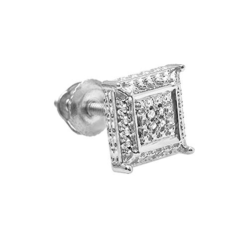 Dazzlingrock Collection 0.03 Carat (ctw) White Round Diamond Micro Pave Setting Kite Shape Stud Earring, Sterling Silver