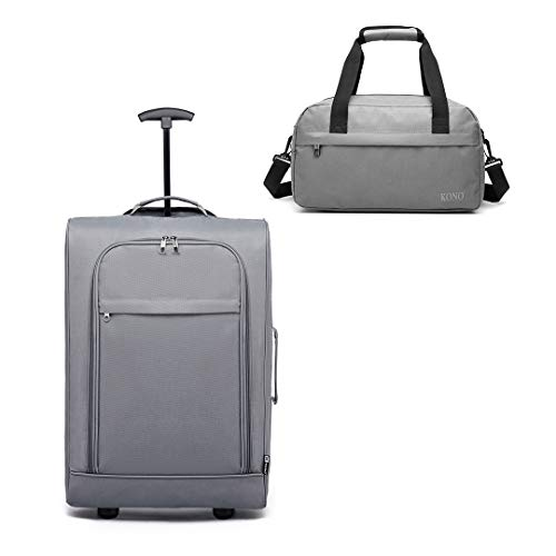 Kono Cabin Approved Soft Carry On Hand Luggage Trolley with Suitcase Case Bag Set (Grey Set)